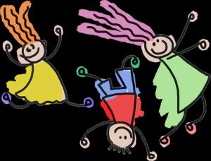 bunte gezeichnete Kinderfiguren